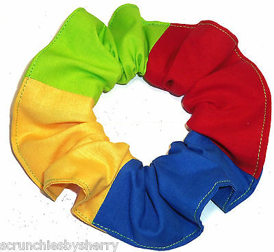Hair Scrunchie Red Blue Yellow Green Tie Ponytail Holder Scrunchies by Sherry