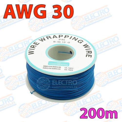 AZUL Bobina AWG30 200m Cable Hilo WRAPPING electronica soldar