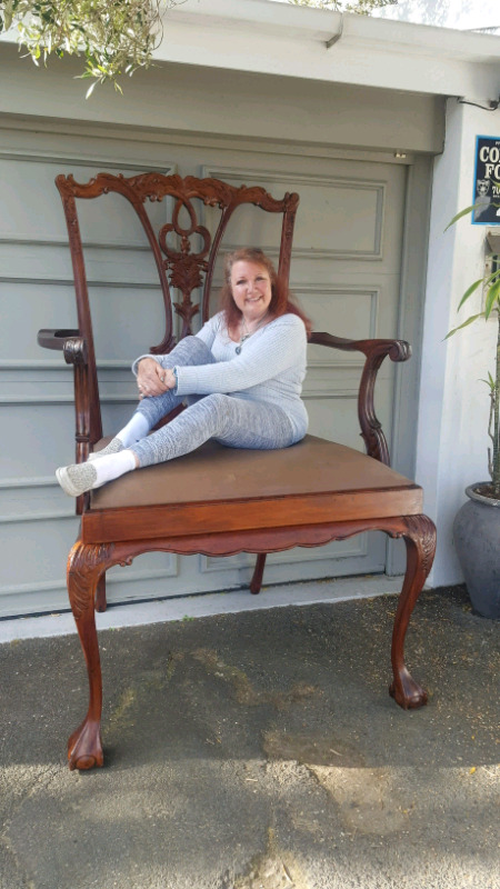 Giant Antique Mahogany Chair