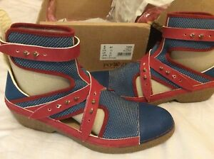 Wedge Blue Eu Uk 7 zu Red Quirky Ethical Boots Natural Po amp; 41 Ankle Latex qw6HXvFx