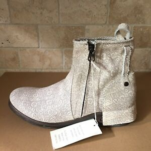 e1dd330c937 Details about UGG COLLECTION STELLA TAUPE REPTILE LEATHER ANKLE BOOTS  BOOTIES SIZE 11 WOMENS
