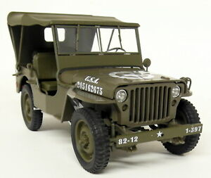 Welly-1-18-Scale-1941-Jeep-Willy-039-s-Military-Vehicle-Roof-Up-Diecast-model-car