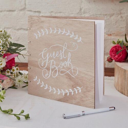 """Gästebuch aus Holz Vintage /""""Boho/"""" 32 Seiten leer Hochzeit Feier Fotoalbum"""