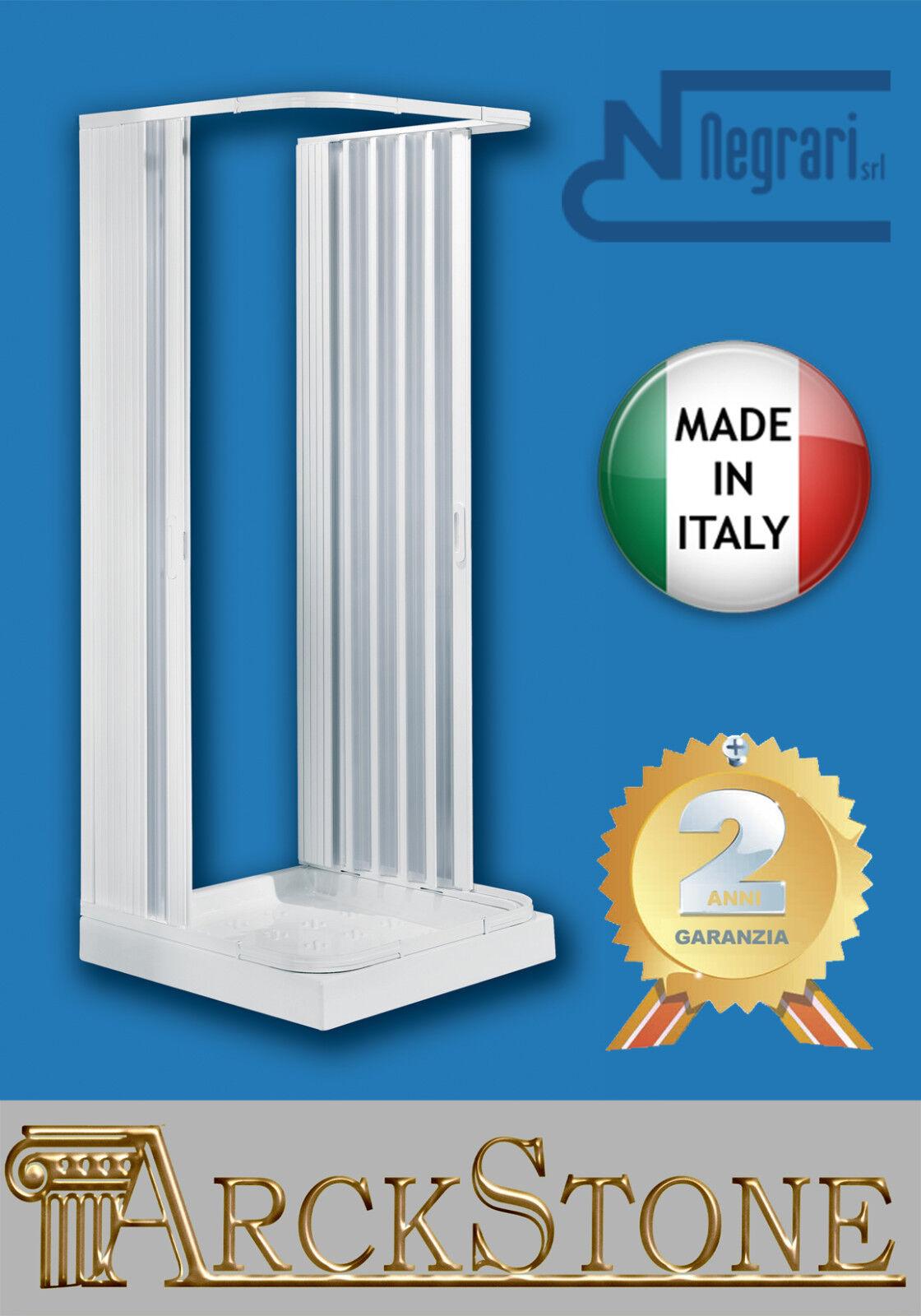 Cabina Box Doccia Negrari Hobby Riducibile Bianco Soffietto 3 Lati 80x80x80 H184