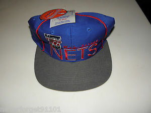 Vintage-NOS-NEW-JERSEY-NETS-Snapback-Hat-90s-The-Game-NUMBERED-NBA