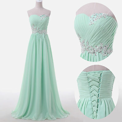 2015 BEADED Bridesmaid Dresses Long Prom Evening Formal Party Ball Gown +5 Color