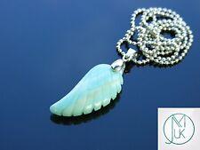 Amazonita piedras preciosas Ala De Ángel Colgante Collar de piedra de curación natural Chakra