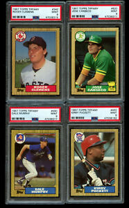 4-Lot-PSA-9-1987-Topps-Tiffany-Jose-Canseco-Rookie-Roger-Clemens-Puckett-Murphy