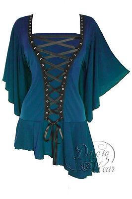 Plus Size Blue Jade Gothic Alchemy Renaissance Corset Stud Top 1X 2X 3X 4X 5X