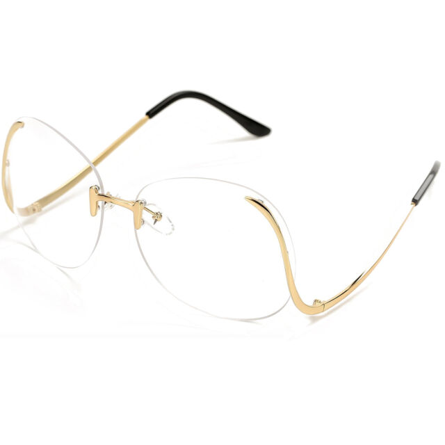 07aebb81b12 OVERSIZED Rimless VINTAGE Style Clear Lens SUN GLASSES Upside Down Gold  Frame