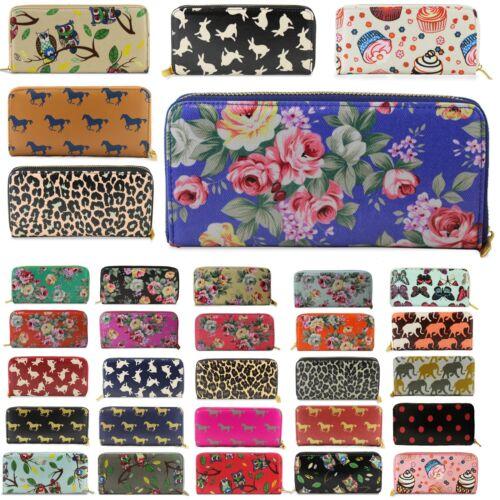 Ladies Wristlet Zip Up Purses Designer Women Girls Wallet Oil Cloth Party Clutch