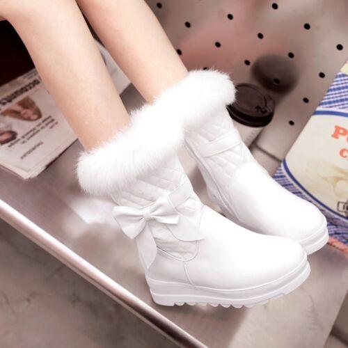 Casual Women Round Hidden Wedge Zip Lolita Fur Trim Mid-Calf Boots Warm Winter99