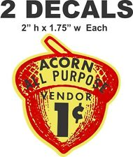 2 Oak Acorn Vending North Western Gumball Machine 1 cent Vendor Vinyl Decals