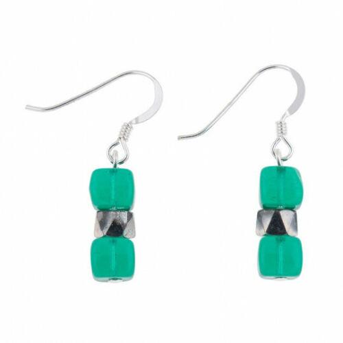 Carrie Elspeth Verde Azulado Brillante Pendientes-EH1565f-Bnwt