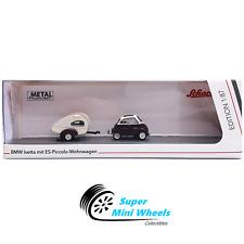 Schuco 187 Ho Scale Bmw Isetta With Trailer Piccolo Wohnwagen Diecast Model