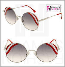 e093abde6939 FENDI Waves FF0248S White Red Stripe Mirrored Sunglasses Round Runway 0248