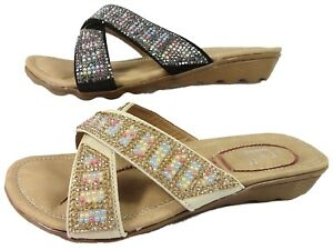 WOMENS-OPEN-TOE-MULE-BLACK-BEIGE-FLEXI-SOLE-PADDED-COMFORT-SANDAL-SHOES