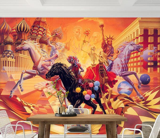 3D Gods Horses Skeleton Paper Wall Print Wall Decal Wall Deco Indoor Murals