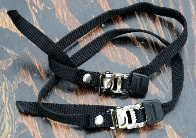 Black Pair Wellgo Premium strap set for toe clips