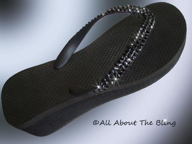 d37159da183617 Havaianas flip flops or Cariris wedge using Black Swarovski Crystals  Stunning