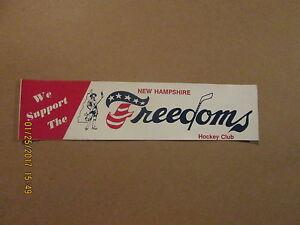 NEHL New Hampshire Freedoms Hockey Club Vintage Defunct 1978-79 Bumper Sticker