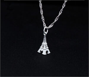 Solid s925 sterling silver small 3d eiffel tower pendant chain 18 image is loading solid s925 sterling silver small 3d eiffel tower aloadofball Image collections