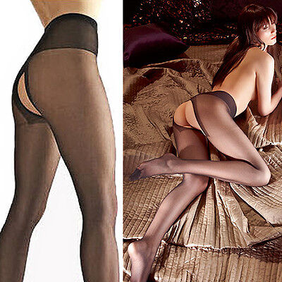 Sex-STRUMPFHOSE offen Erotik Nylons Reizwäsche Dessous schwarz #217 S M L XL