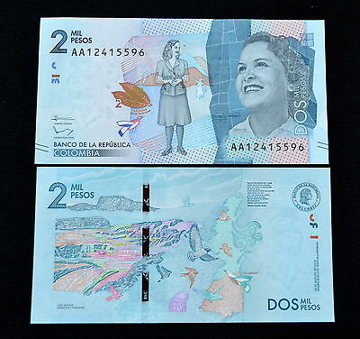 Clever Kolumbien Colombia 2mil 2000 Pesos 2015 P-458a Unc Banknote Papiergeld Currency Karibik