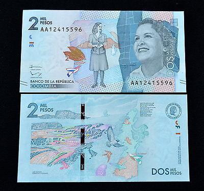 Papiergeld Welt Clever Kolumbien Colombia 2mil 2000 Pesos 2015 P-458a Unc Banknote Papiergeld Currency Amerika