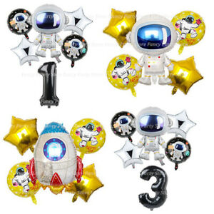 Astronaut-Space-Birthday-Balloons-Party-Foil-Latex-Happy-Birthday-Galaxy-Rocket