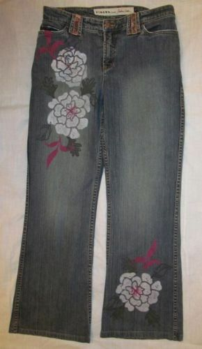 FIBERS by BARBARA LESSER stretchy floral peony print embellished jeans 10
