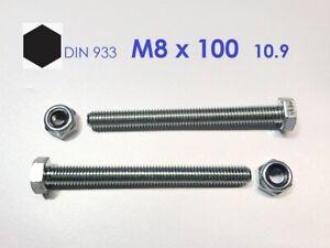 100 Stk Sechskantschraube DIN 933 10.9 M12 x 90 verzinkt