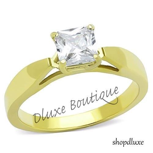 1.25 Ct Princess Cut AAA CZ 14k Gold Plated Engagement Ring Women's Size 5-10