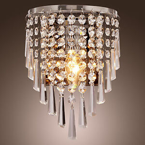 Modern Crystal Wall Sconce Pendant Fixture Lamp Bathroom