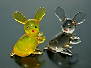 Miniature Art Glass: Hand-Crafted Figurines Four Rabbits Sitting #1001