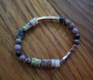 handmade womens unique rhodonite stone bracelet with rose gold beads