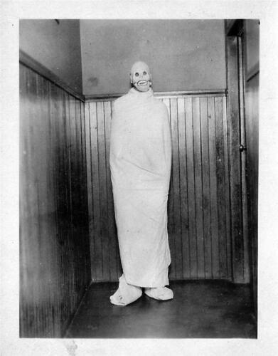 Scary Freak Man In Halloween Costume Old Photo