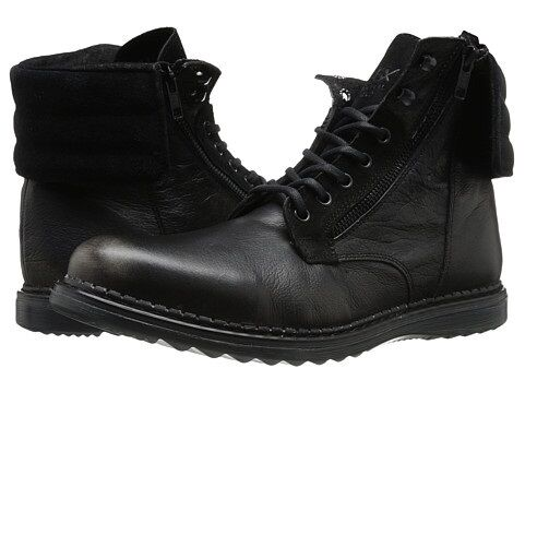 GBX Mens Trammel 57689 Casual Leather Lace Up Cuff Down Ankle Boot Black 9   9.5