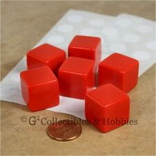NEW 6 19mm Six Sided Red Blank Dice Set with Stickers D&D RPG Game 3/4 inch
