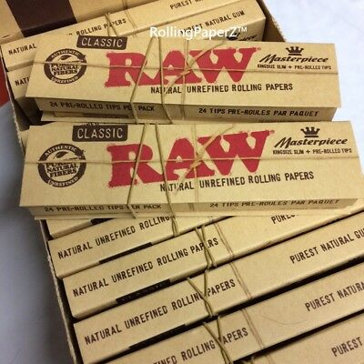 King Size Slim Pre Rolled Tips Rolling Paper RAW Classic Masterpiece 2x Pack