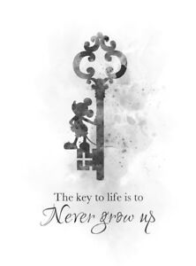 Details about ART PRINT Never Grow Up Quote Mickey Mouse, Wall Art, Disney  Gift Nursery, B & W
