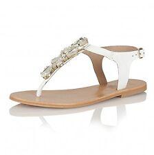 New Women's Ravel El Paso Jewel Leather Toe Post Flat Sandals White UK 4 EUR 37