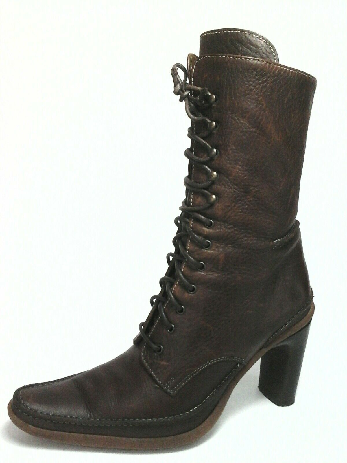 VITTORIO PIANI Boots Brown Leather Victorian Heels Lace up Womens US 8.5/9