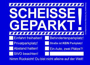 Scheisse-Geparkt-Notizblock-A7-fuer-Windschutzscheibe-50-Blatt-Blau-Falschparker