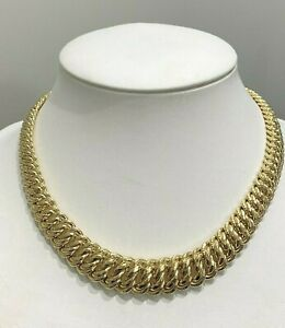 Imposant-Collier-Maille-Americaine-or-jaune