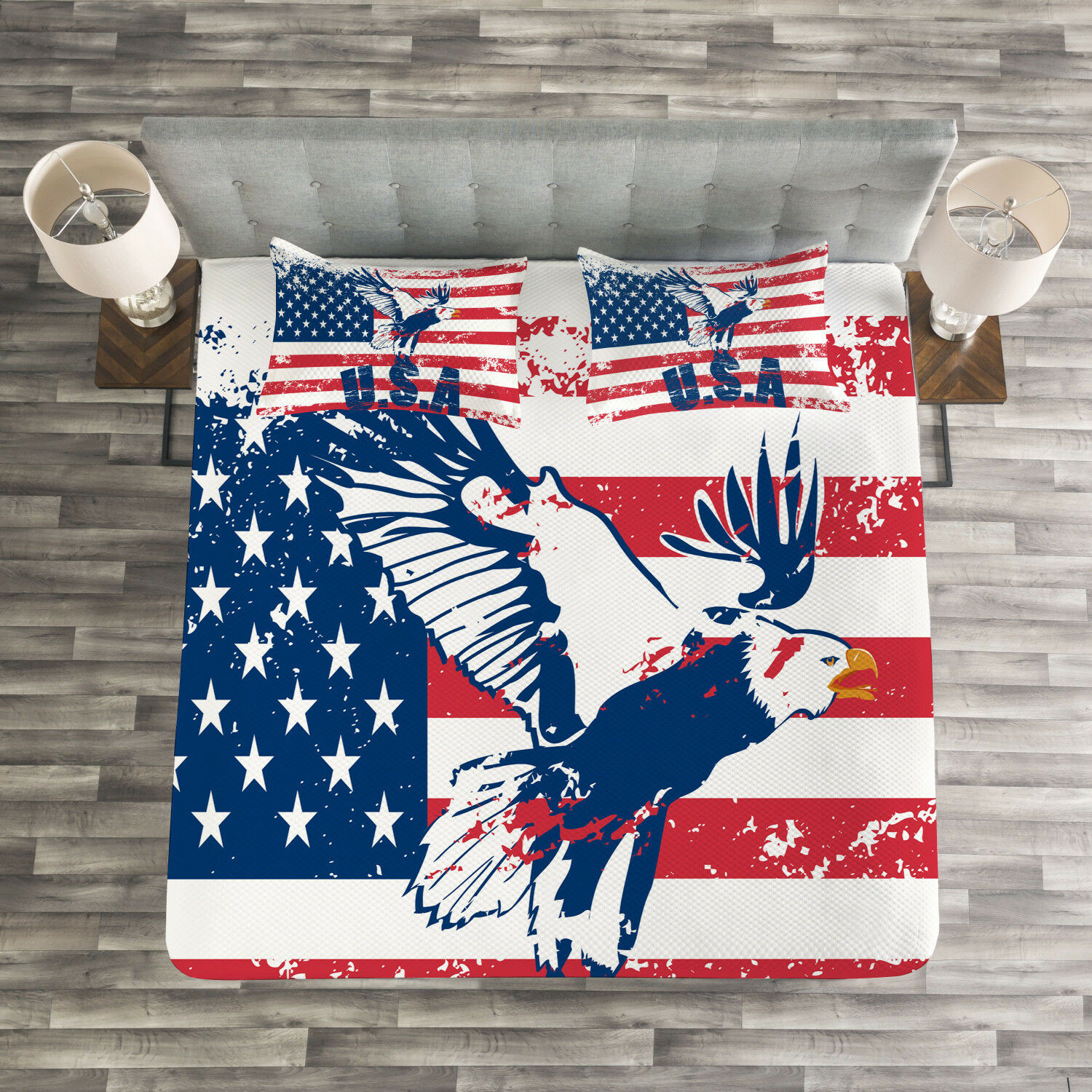 United States Quilted Bedspread & Pillow Shams Set, American Flag Print