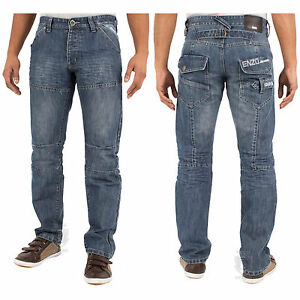 Enzo-Mens-New-Denim-Jeans-In-Stonewash-Colour-Straight-Leg-Pants-Sizes-28-48