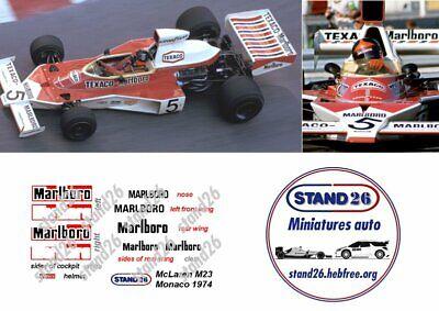 Details about  /Decals marlboro mclaren m23 monaco gp 1974 spark 1//43e show original title