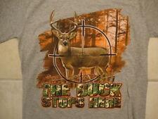 Lifestyle Classics The Buck Stops Here Deer Hunting Gun Scope Gray T Shirt S