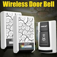 Waterproof Wireless Doorbell Door Bell 36 Chimes Songs Remote Control 2 Receiver on sale
